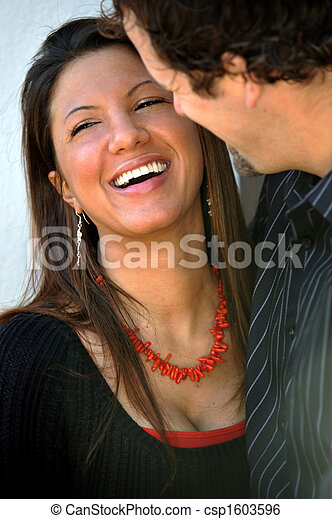 Young Happy Smiling Attractive Interracial Couple Outdoors - csp1603596