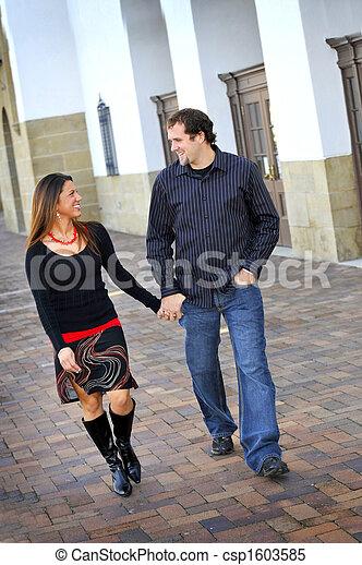Young Happy Smiling Attractive Interracial Couple - csp1603585