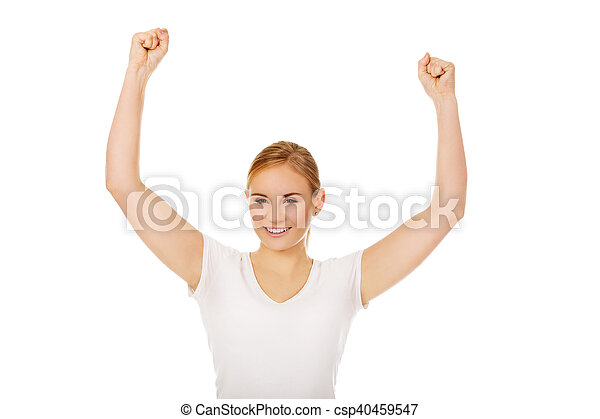 Young happy woman with arms up - csp40459547