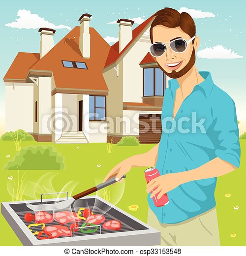young hipster man barbecuing meat on the grill - csp33153548
