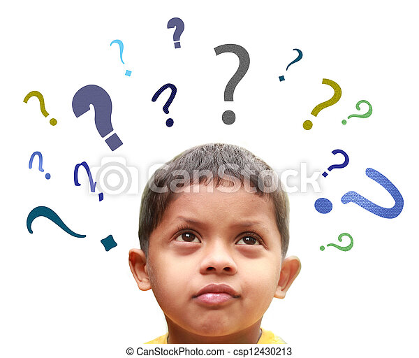 Young indian boy puzzled over many confusing questions without solutions about his friends, school, parents, food, play, etc. - csp12430213