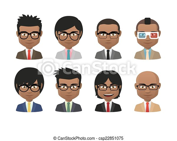 young indian men wearing suit and glasses avatar set illustration