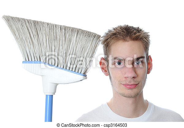 Young Janitor Smiling with Broom - csp3164503