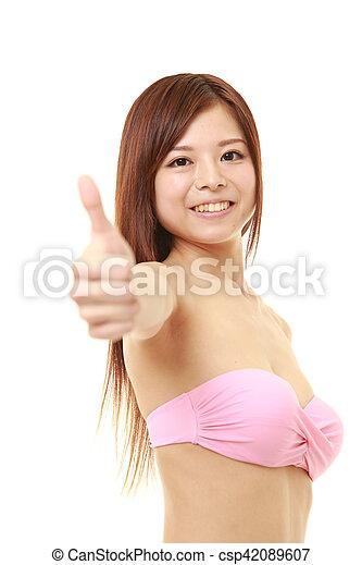 Pink bikini thumbs