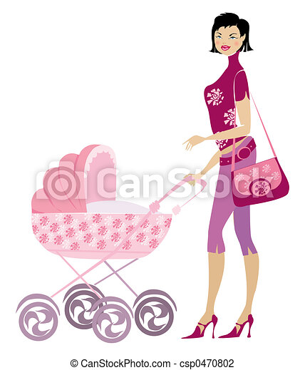 Young lady and pram - csp0470802