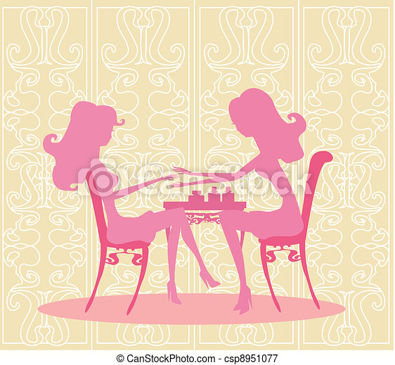 Young lady doing manicure  - csp8951077
