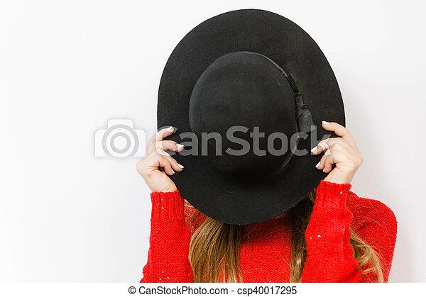 626145ef4da Fashion elegant clothing fun gesture concept. young lady hiding her ...
