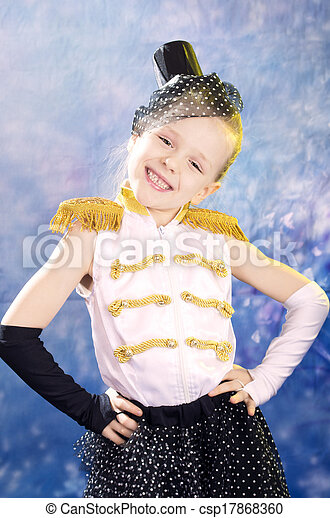 young little girl in dance costume - csp17868360