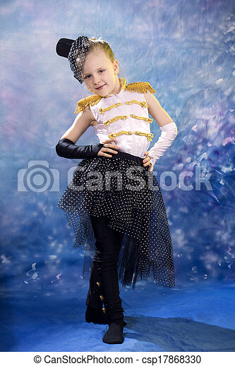 young little girl in dance costume - csp17868330