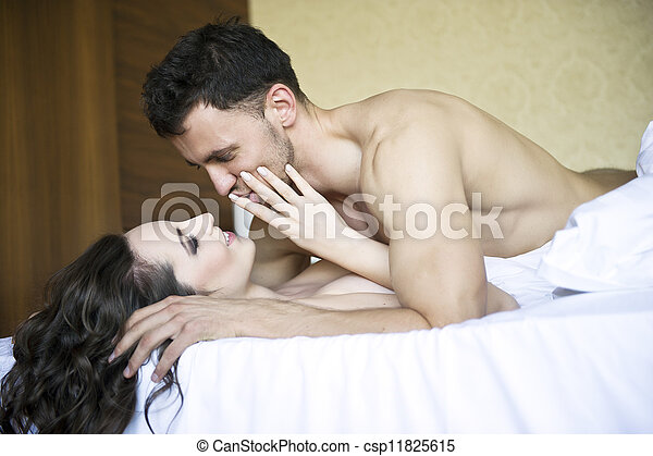 Young lovers lay in bed - csp11825615