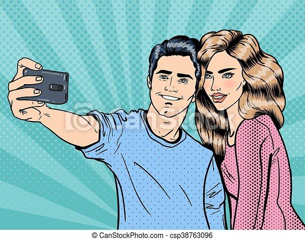 young loving couple making selfie on smartphone pop art vector
