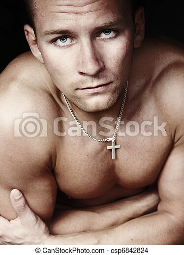 Young male model with amaying body - csp6842824