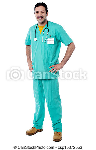 Young male physician posing casually - csp15372553