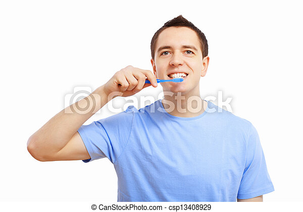 Young man at home brushing teeth - csp13408929
