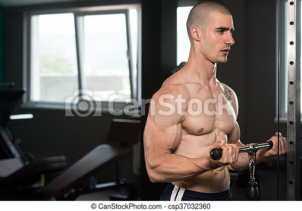 Young Man Exercising Biceps In The Gym - csp37032360