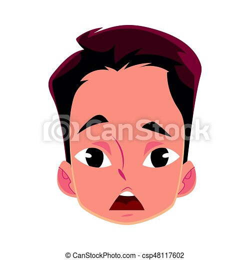 Young man face, surprised facial expression - csp48117602