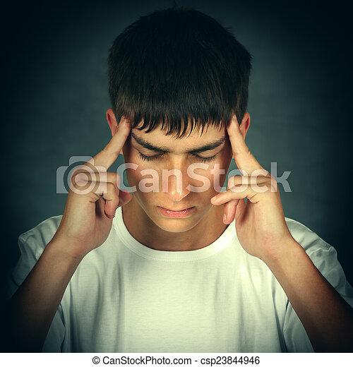Young Man feel Headache - csp23844946