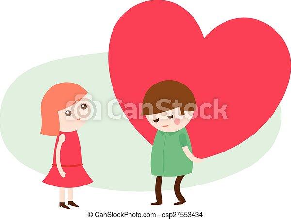 Line Art Love Heart : Young man giving a heart to his sweetheart vector cartoon
