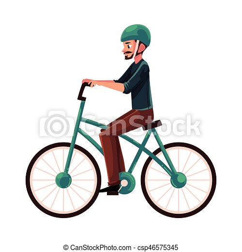 1e69efa7e947 Young man, guy riding urban bicycle, cycling in helmet - csp46575345
