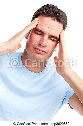Young man having a headache. - csp8629869