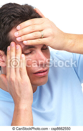 Young man having a headache. - csp8662550