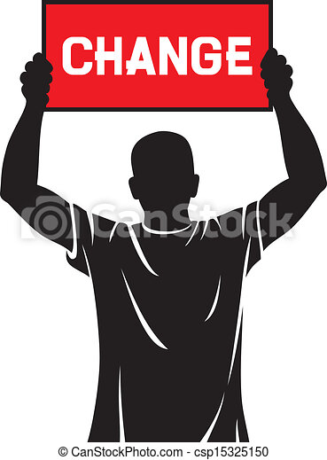 young man holding a banner - change - csp15325150