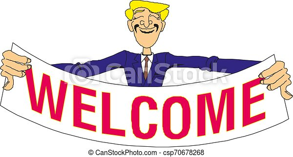 Young man holding a banner with the word welcome. Vector illustration - csp70678268