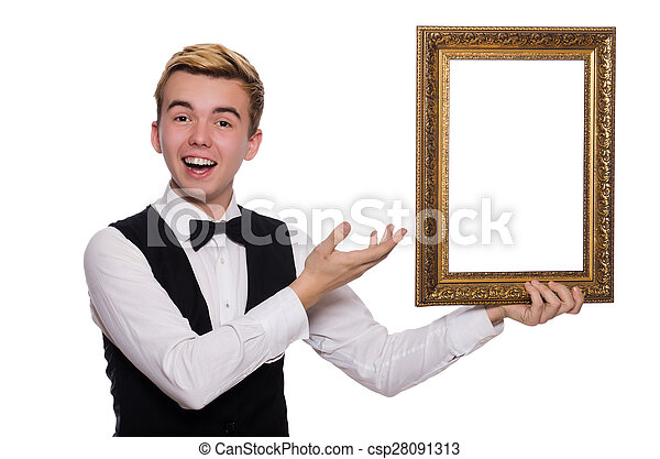 Young man holding frame isolated on white.