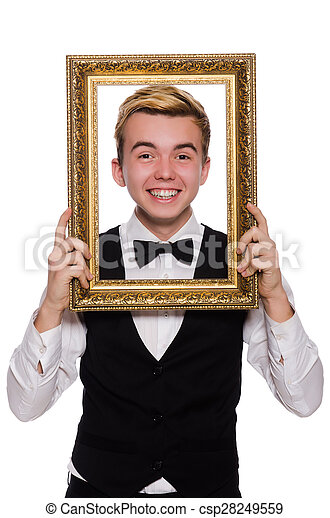 Young man holding frame isolated on white stock images - Search ...
