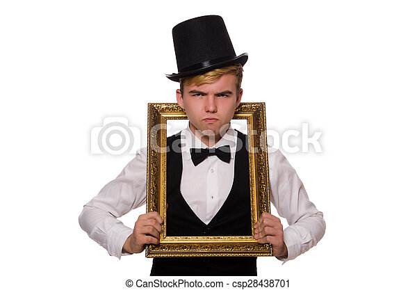 Young man holding frame isolated on white stock photography - Search ...