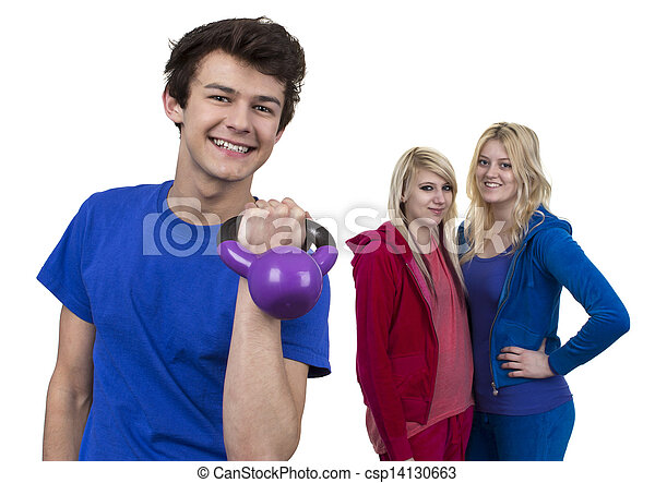 Young Man Holding Weight  In Front Of Two Women - csp14130663