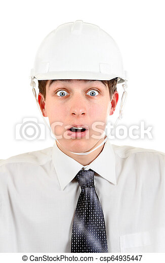 Young Man in a Hard Hat - csp64935447