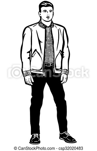 black and white vector sketch of a young man in a short jacket