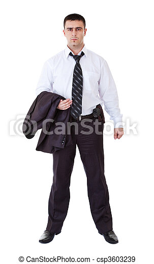 young man in black suit with gun - csp3603239