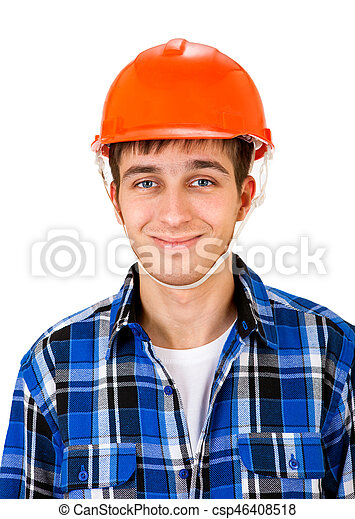 Young Man in Hard Hat - csp46408518