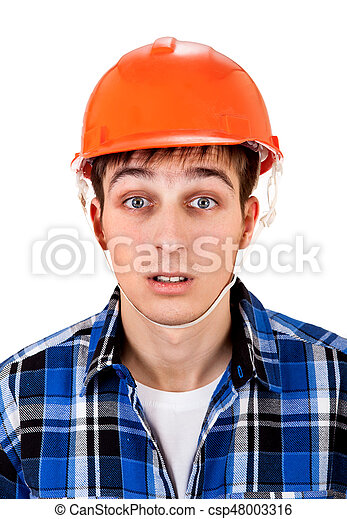 Young Man in Hard Hat - csp48003316