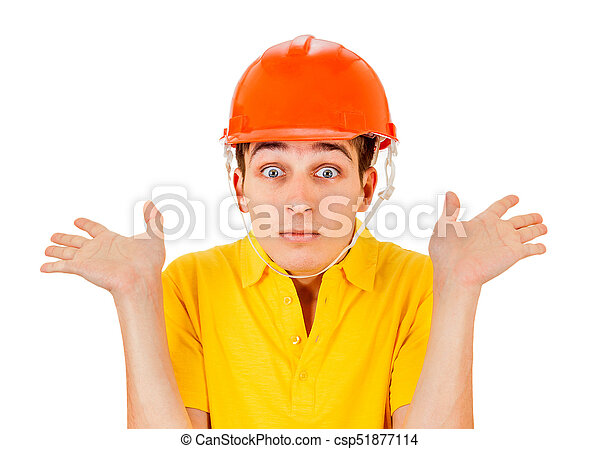 Young Man in Hard Hat - csp51877114