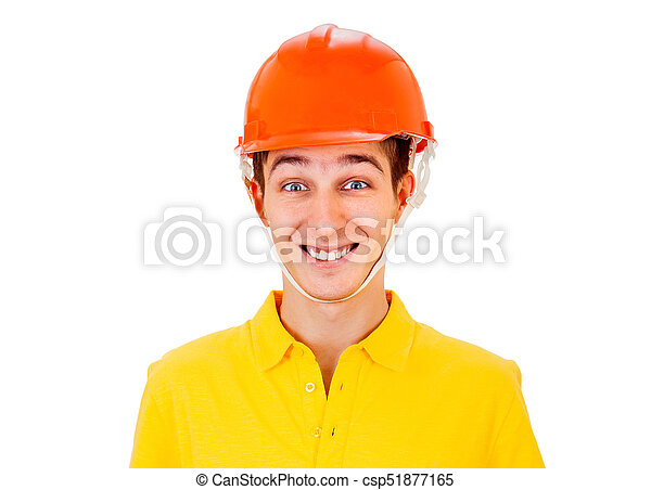 Young Man in Hard Hat - csp51877165