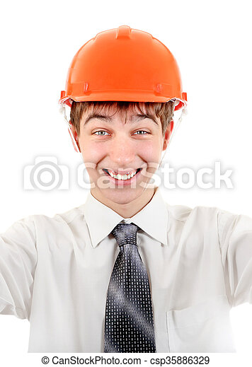 Young Man in Hard Hat - csp35886329