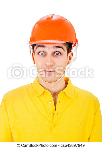 Young Man in Hard Hat - csp43897949