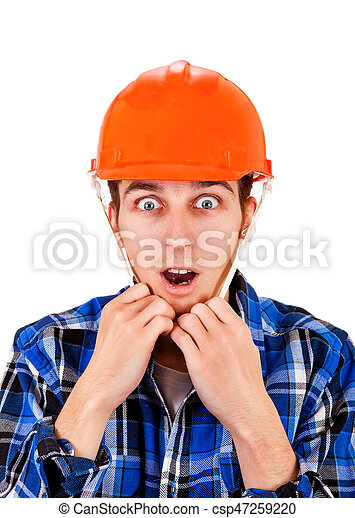 Young Man in Hard Hat - csp47259220