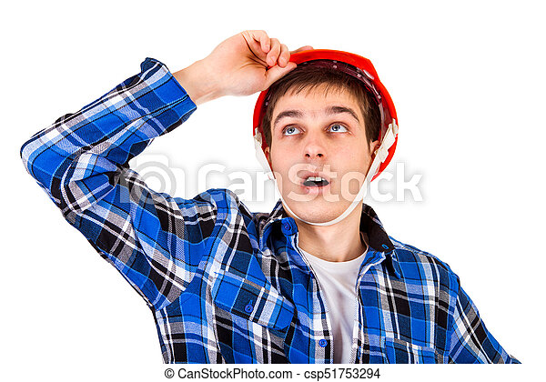 Young Man in Hard Hat - csp51753294