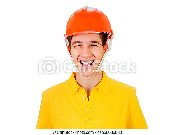 Young Man in Hard Hat - csp56636830