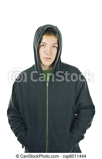 Young man in hoodie - csp6011444
