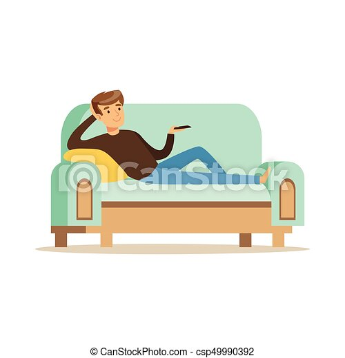 young man lying on a sofa and watching tv male resting at eps vectors search clip art. Black Bedroom Furniture Sets. Home Design Ideas