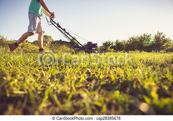 Young man mowing the grass - csp28385678
