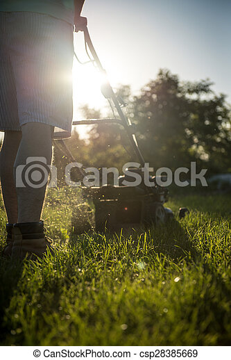 Young man mowing the grass - csp28385669