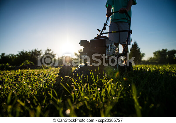 Young man mowing the grass - csp28385727