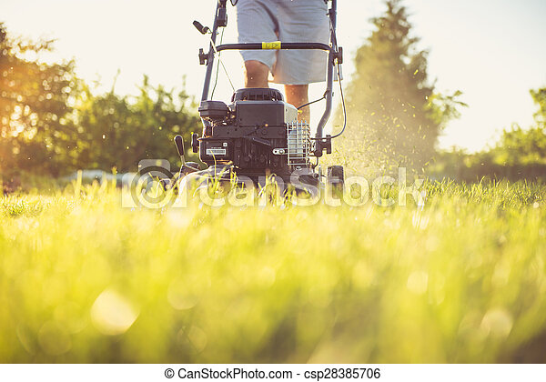 Young man mowing the grass - csp28385706