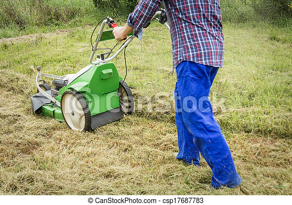 Young man mowing the lawn with a lawnmower - csp17687783